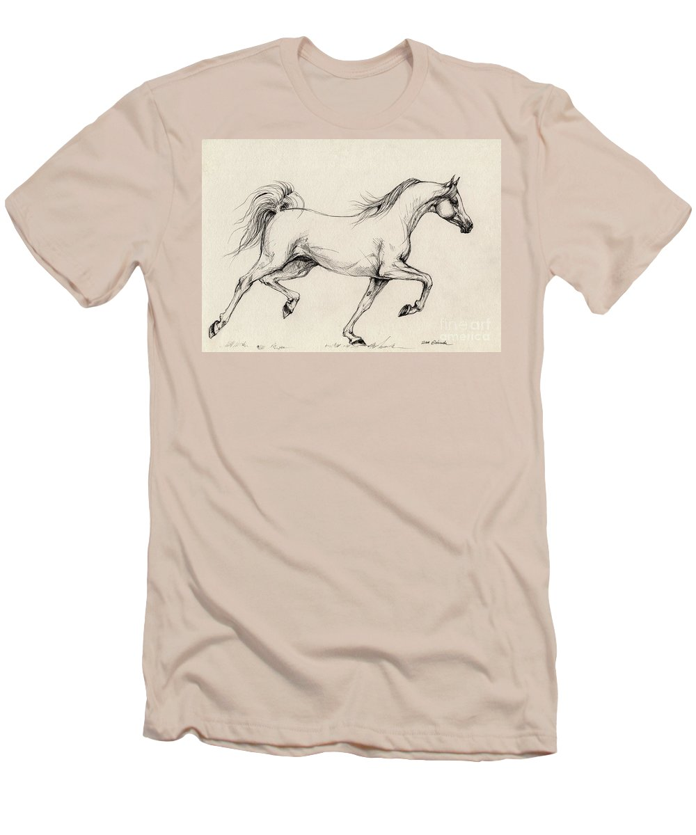 Grey Men's T-Shirt (Athletic Fit) featuring the drawing Arabian Horse Drawing 31 by Angel Tarantella