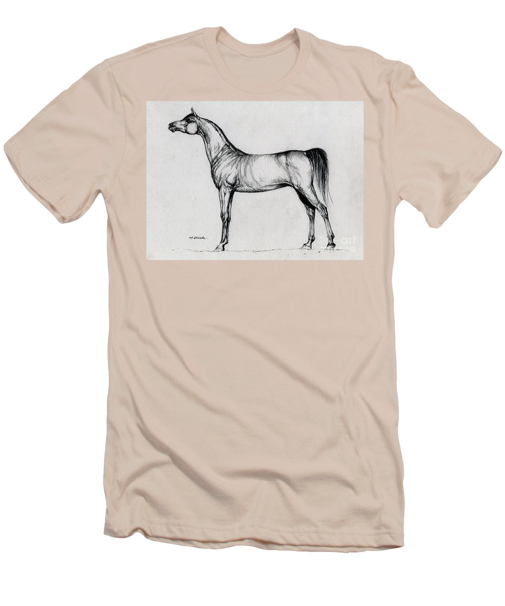 Arab Men's T-Shirt (Athletic Fit) featuring the drawing Arabian Horse Drawing 34 by Angel Ciesniarska