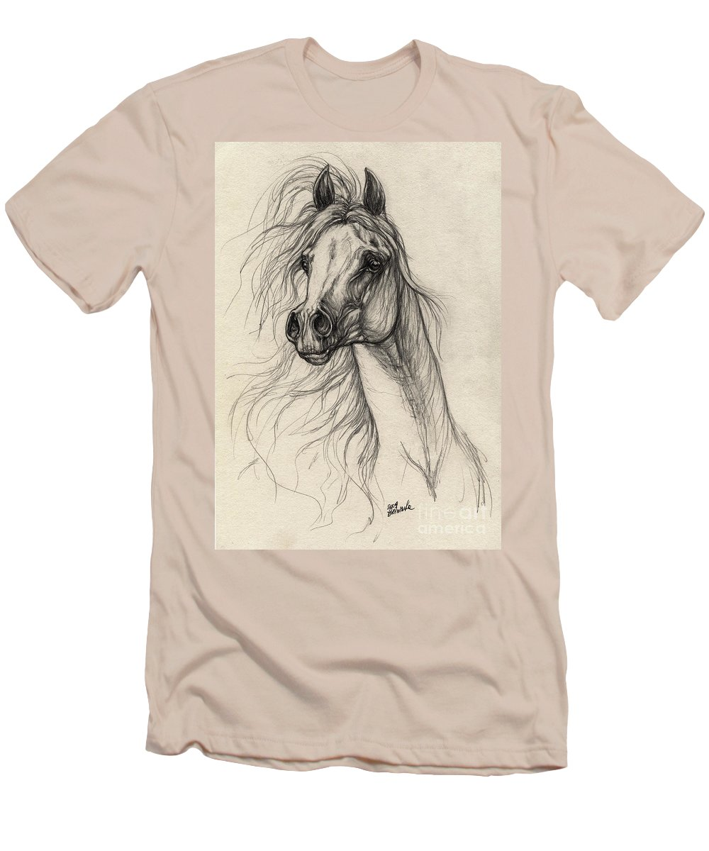 Horse Men's T-Shirt (Athletic Fit) featuring the drawing Arabian Horse Drawing 37 by Angel Ciesniarska