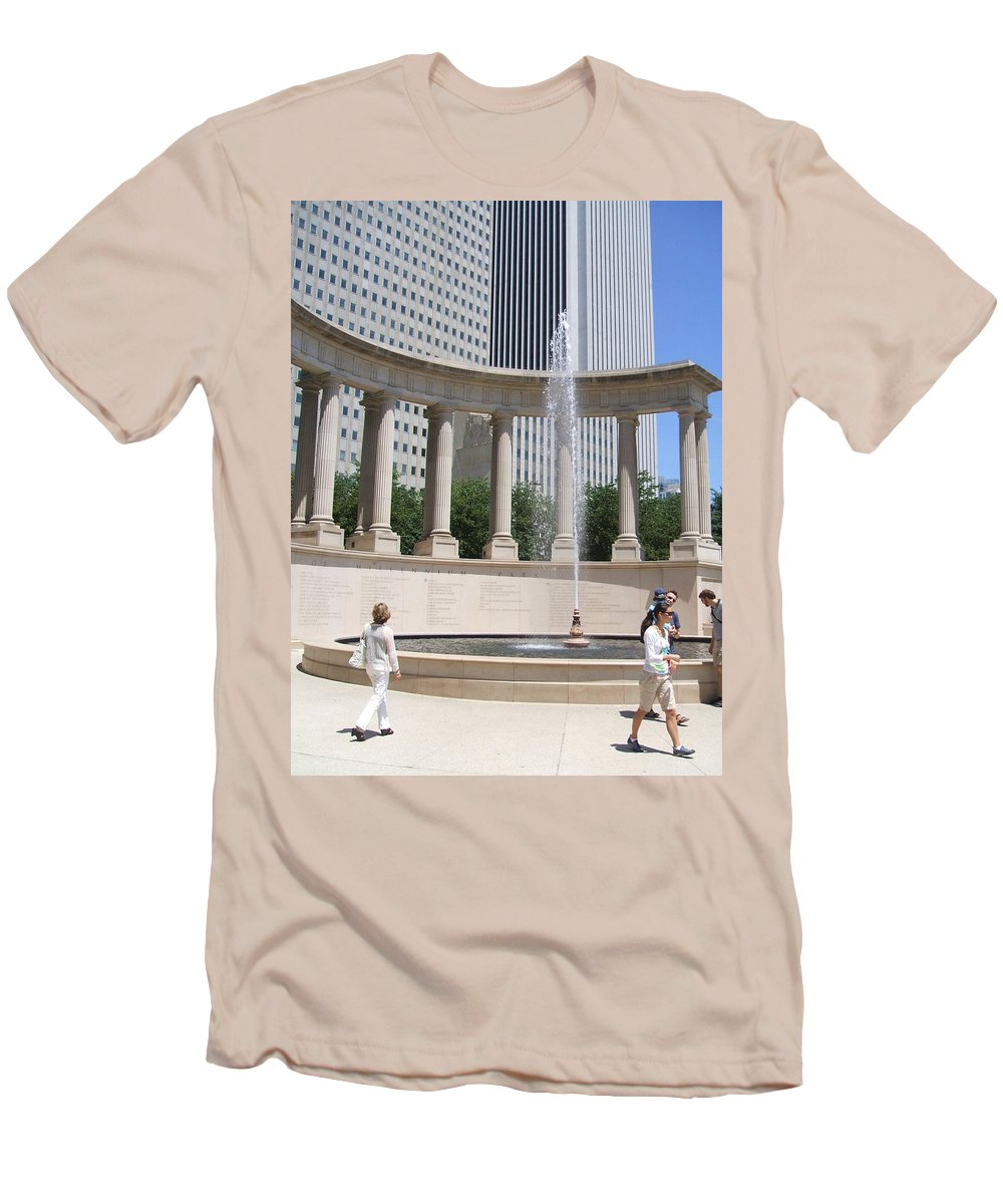 Chicago Men's T-Shirt (Athletic Fit) featuring the photograph Chicago Tourism by Minding My Visions by Adri and Ray