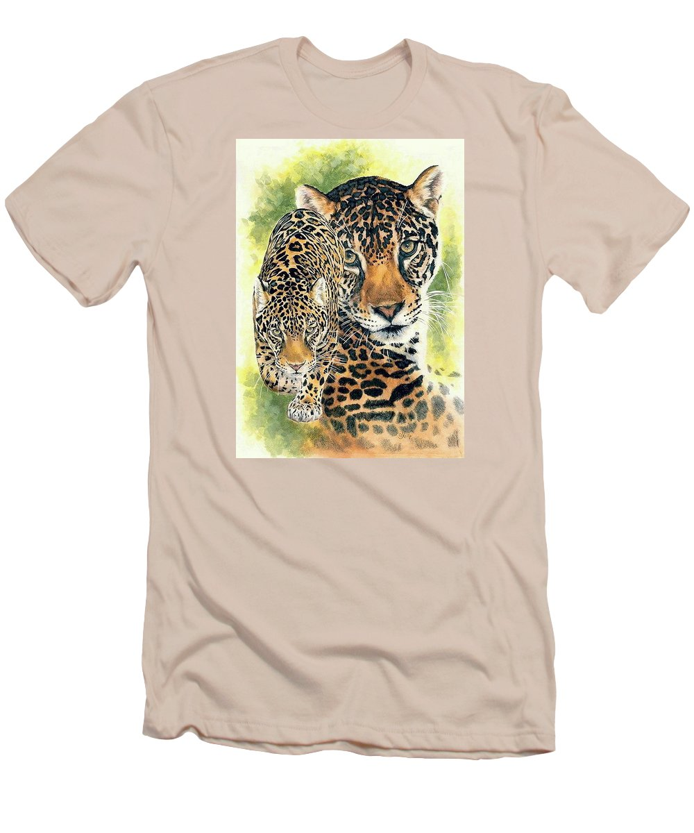Jaguar Men's T-Shirt (Athletic Fit) featuring the mixed media Compelling by Barbara Keith