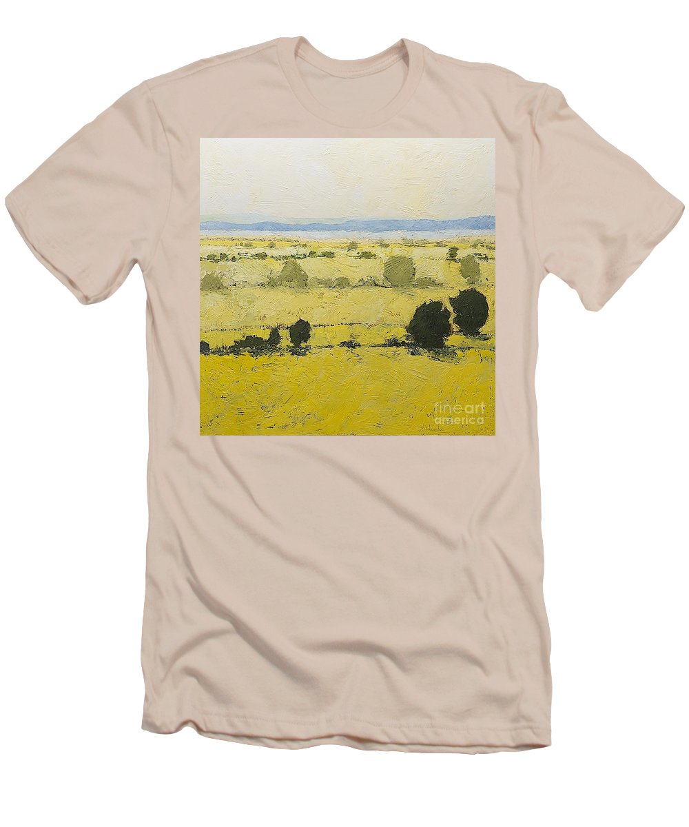 Landscape Men's T-Shirt (Athletic Fit) featuring the painting Dry Grass by Allan P Friedlander