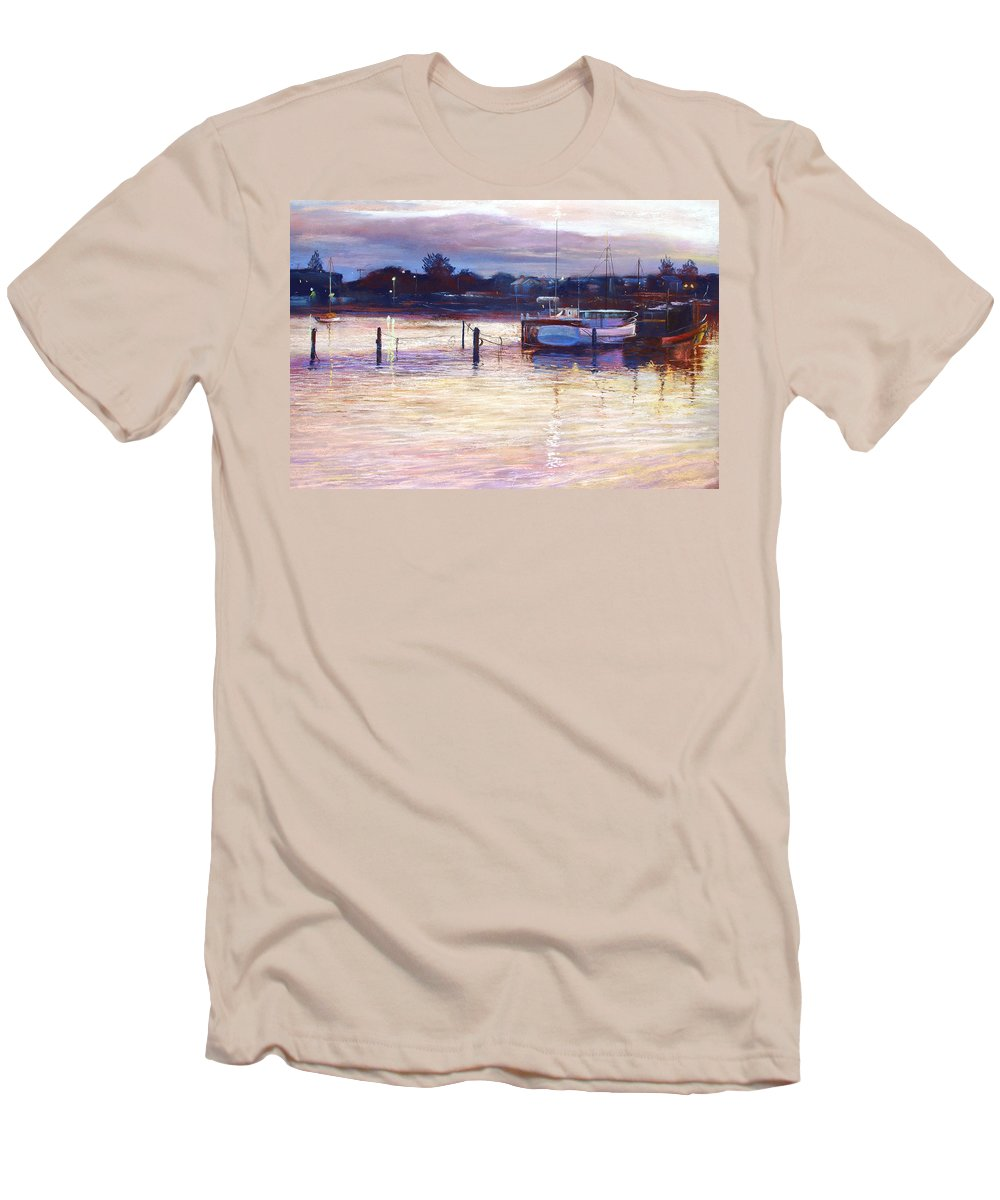 Lynda Robinson Men's T-Shirt (Athletic Fit) featuring the pastel Harbour Lights - Apollo Bay by Lynda Robinson