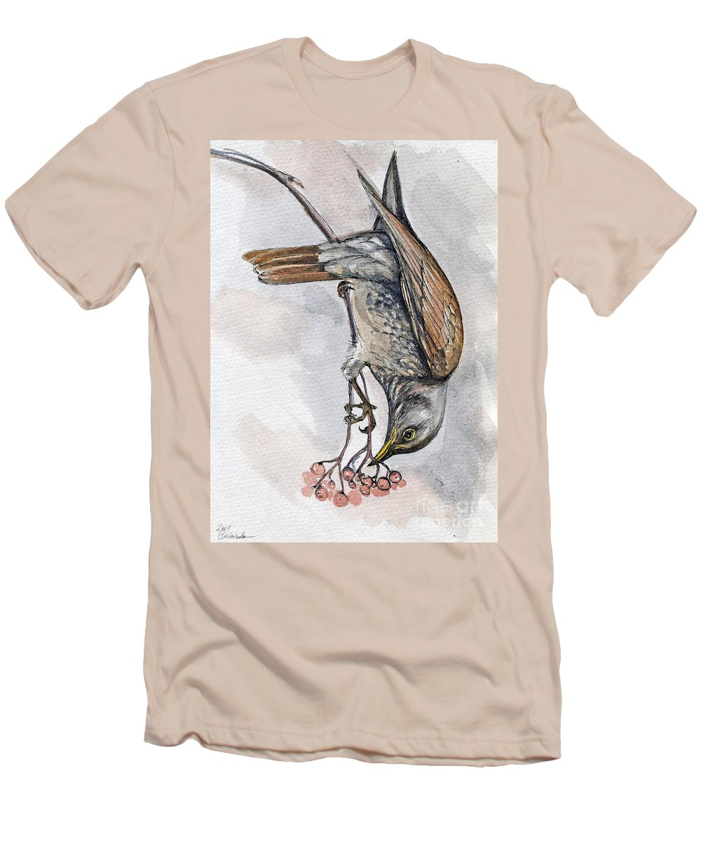 Bird Men's T-Shirt (Athletic Fit) featuring the painting hungry Thrush 1 by Angel Ciesniarska