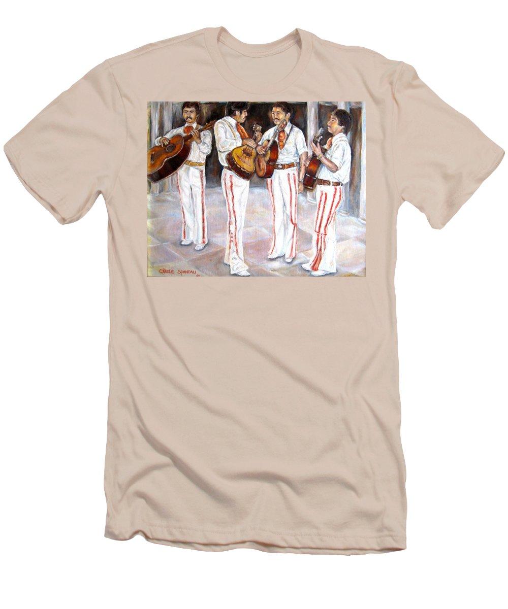 Mariachis Men's T-Shirt (Athletic Fit) featuring the painting Mariachi Musicians by Carole Spandau
