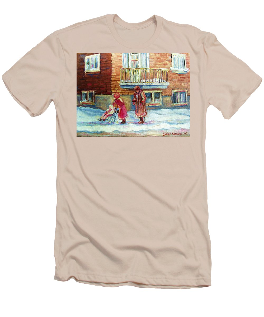 Montreal Men's T-Shirt (Athletic Fit) featuring the painting Montreal Winter Scenes by Carole Spandau