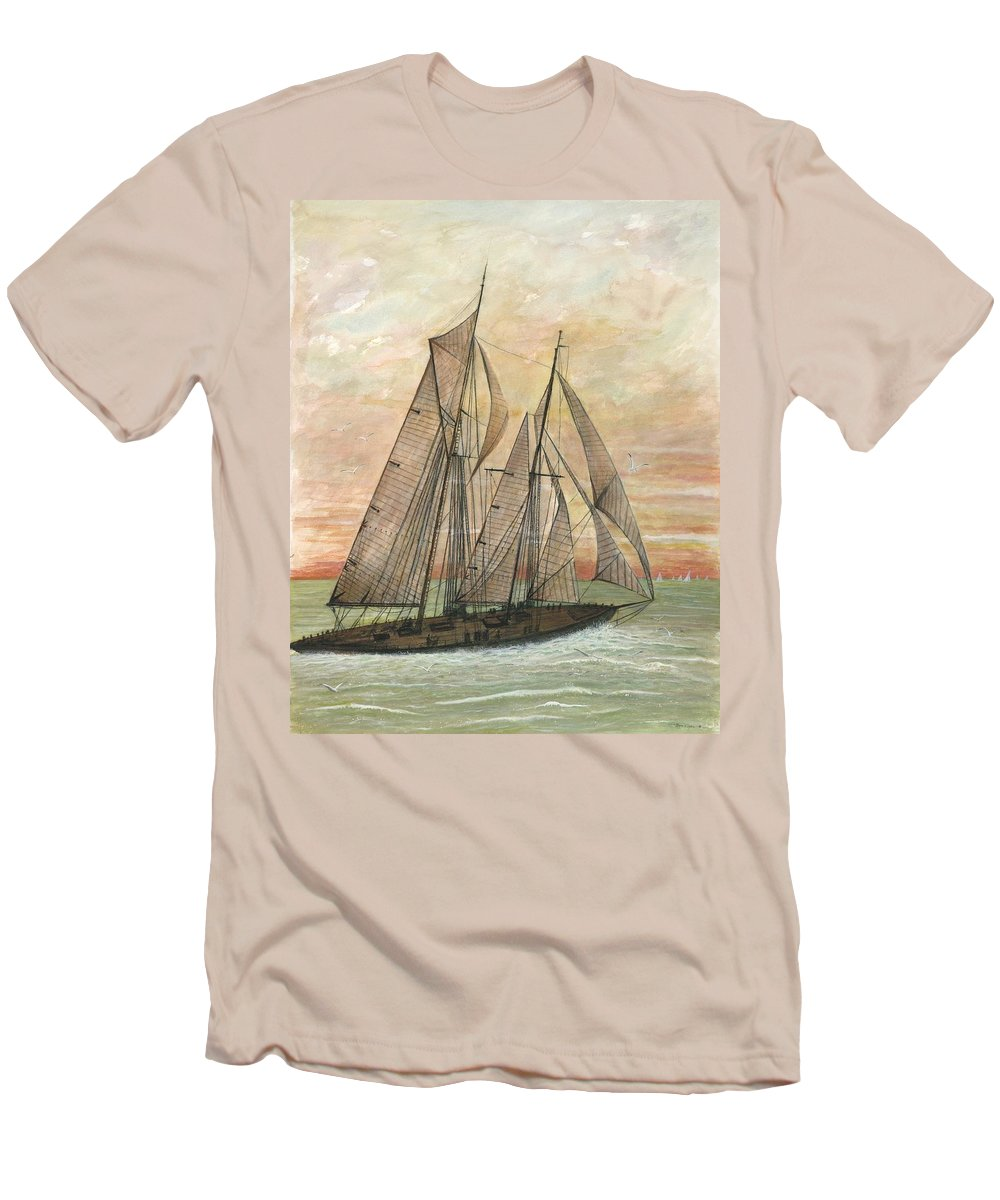 Sailboat; Ocean; Sunset Men's T-Shirt (Athletic Fit) featuring the painting Out To Sea by Ben Kiger
