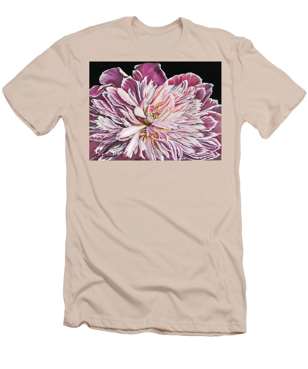 Flower Men's T-Shirt (Athletic Fit) featuring the painting Pink Peony by Jane Girardot