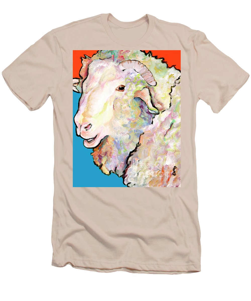 Pat Saunders-white Men's T-Shirt (Athletic Fit) featuring the painting Rainbow Ram by Pat Saunders-White