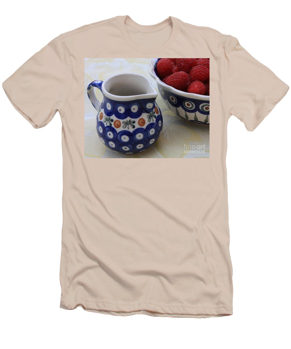 Raspberries Men's T-Shirt (Athletic Fit) featuring the photograph Raspberries With Cream by Carol Groenen