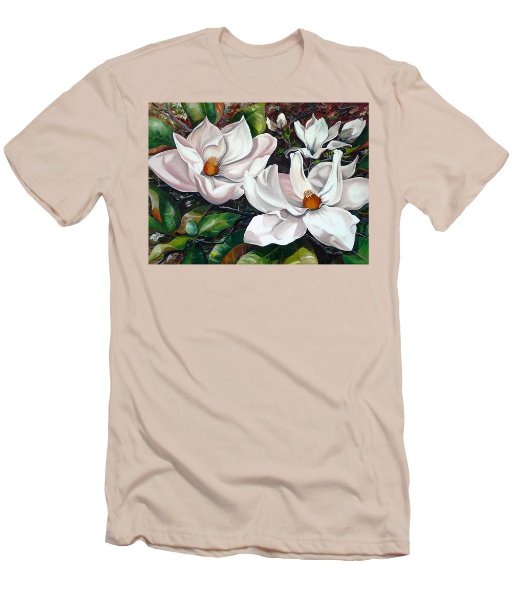 Magnolia Painting Flower Painting Botanical Painting Floral Painting Botanical Bloom Magnolia Flower White Flower Greeting Card Painting Men's T-Shirt (Athletic Fit) featuring the painting Scent Of The South. by Karin Dawn Kelshall- Best