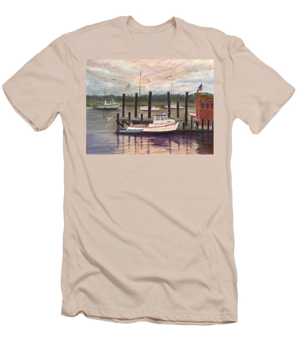 Charleston; Boats; Fishing Dock; Water Men's T-Shirt (Athletic Fit) featuring the painting Shem Creek by Ben Kiger