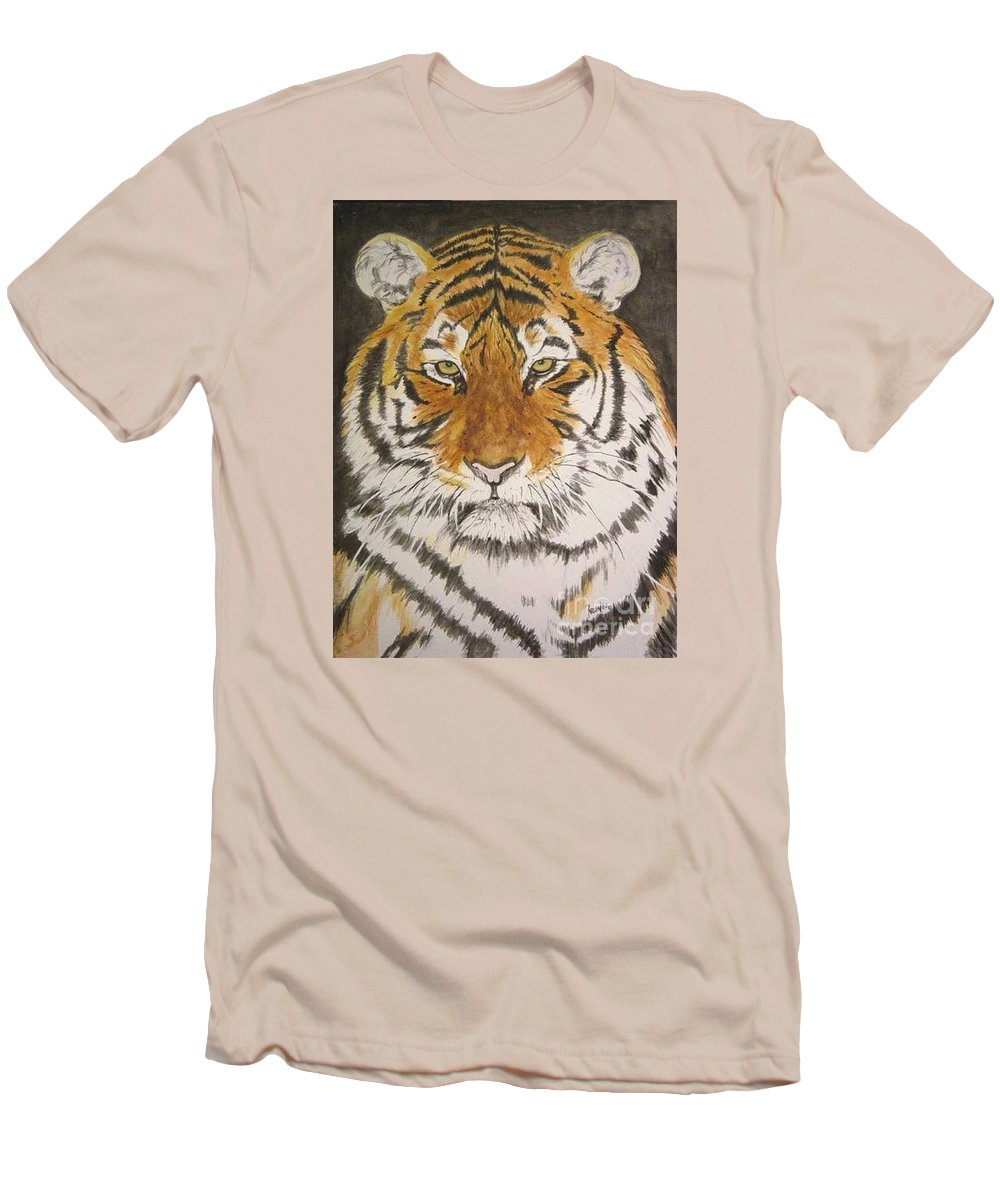 Siberian Tiger Men's T-Shirt (Athletic Fit) featuring the painting Siberian Tiger by Regan J Smith
