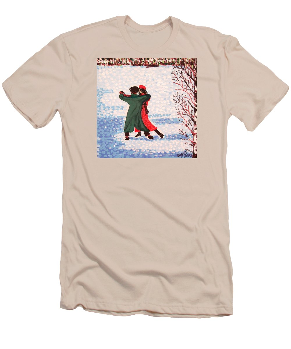 Snow Men's T-Shirt (Athletic Fit) featuring the painting Snow Tango by Alan Hogan