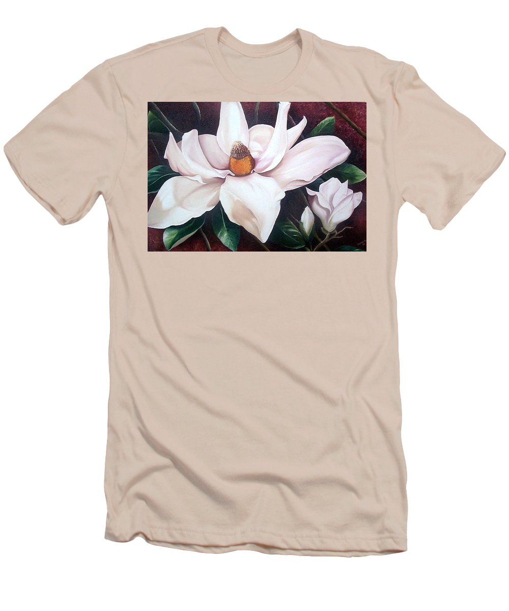 Magnolia Southern Bloom Floral Botanical White Men's T-Shirt (Athletic Fit) featuring the painting Southern Beauty by Karin Dawn Kelshall- Best