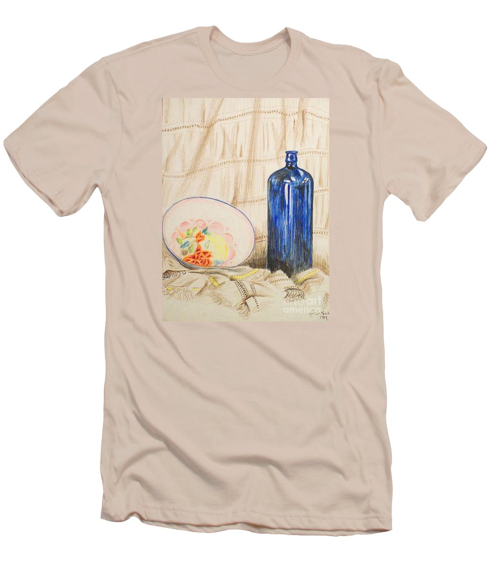 Still-life Men's T-Shirt (Athletic Fit) featuring the drawing Still-life With Blue Bottle by Alan Hogan