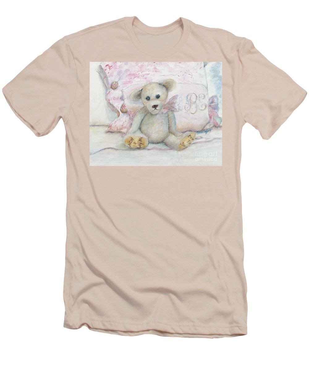Teddy Bear Men's T-Shirt (Athletic Fit) featuring the painting Teddy Friend by Nadine Rippelmeyer