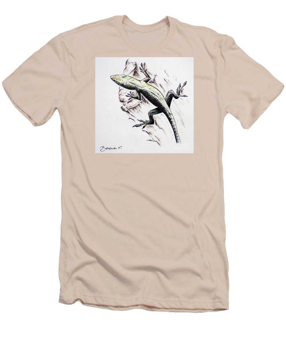 Ink Sketch Men's T-Shirt (Athletic Fit) featuring the drawing The Green Lizard by Katharina Filus