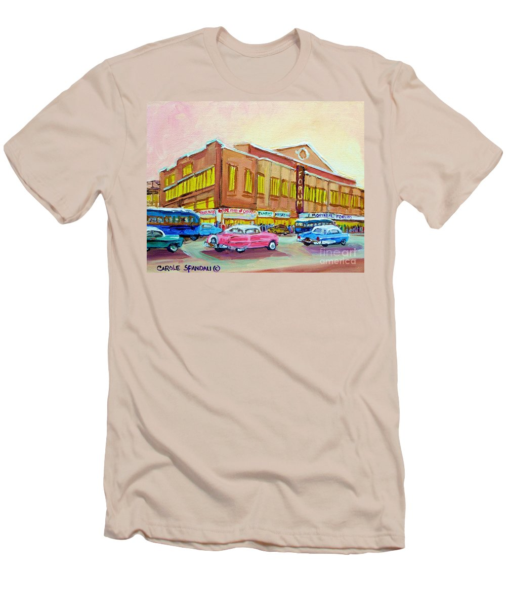 Montreal Men's T-Shirt (Athletic Fit) featuring the painting The Montreal Forum by Carole Spandau