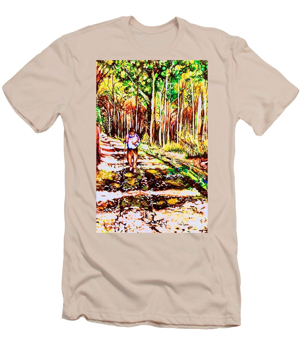 The Road Not Taken Robert Frost Poem Men's T-Shirt (Athletic Fit) featuring the painting The Road Not Taken by Carole Spandau