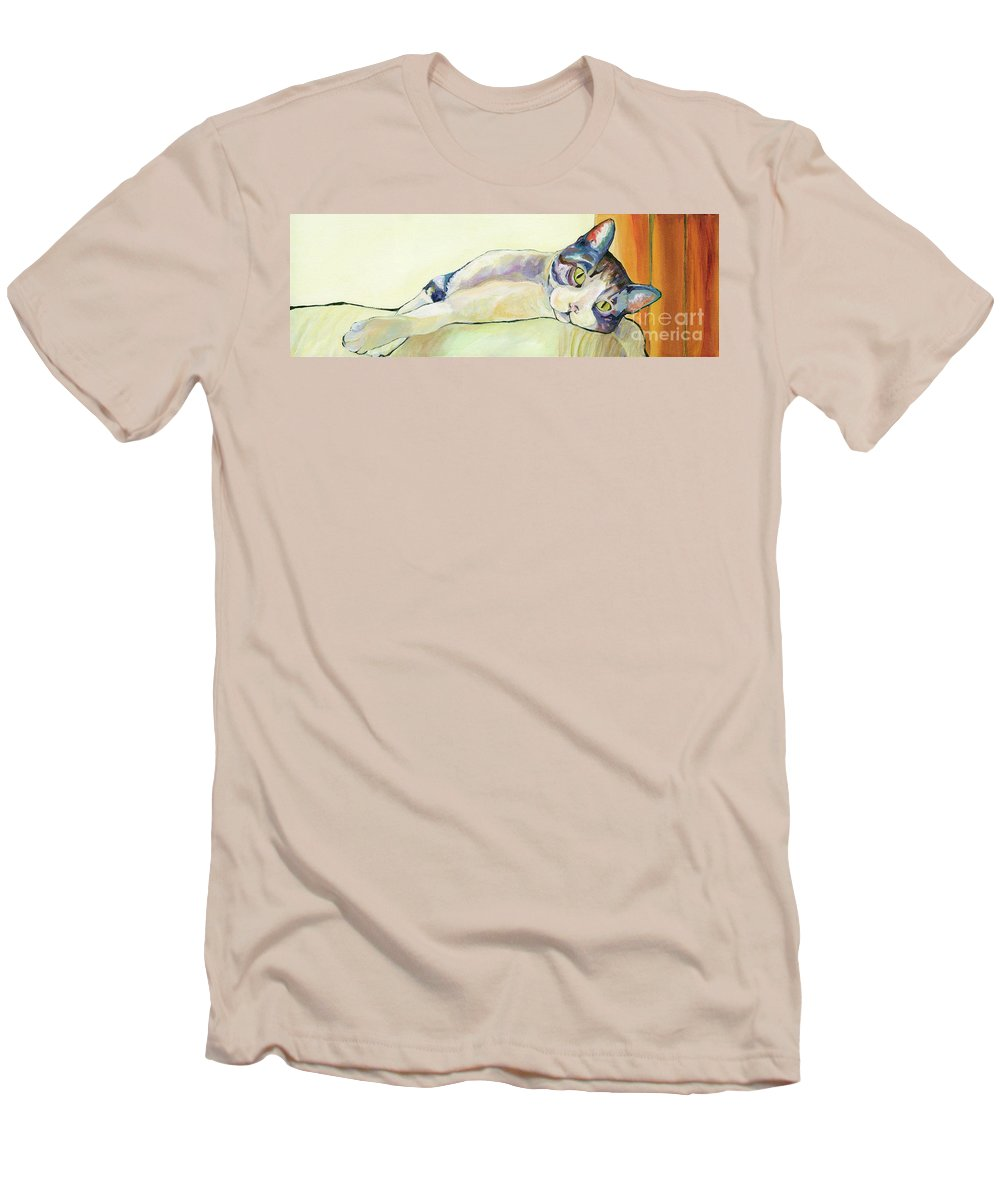 Pat Saunders-white Canvas Prints Men's T-Shirt (Athletic Fit) featuring the painting The Sunbather by Pat Saunders-White