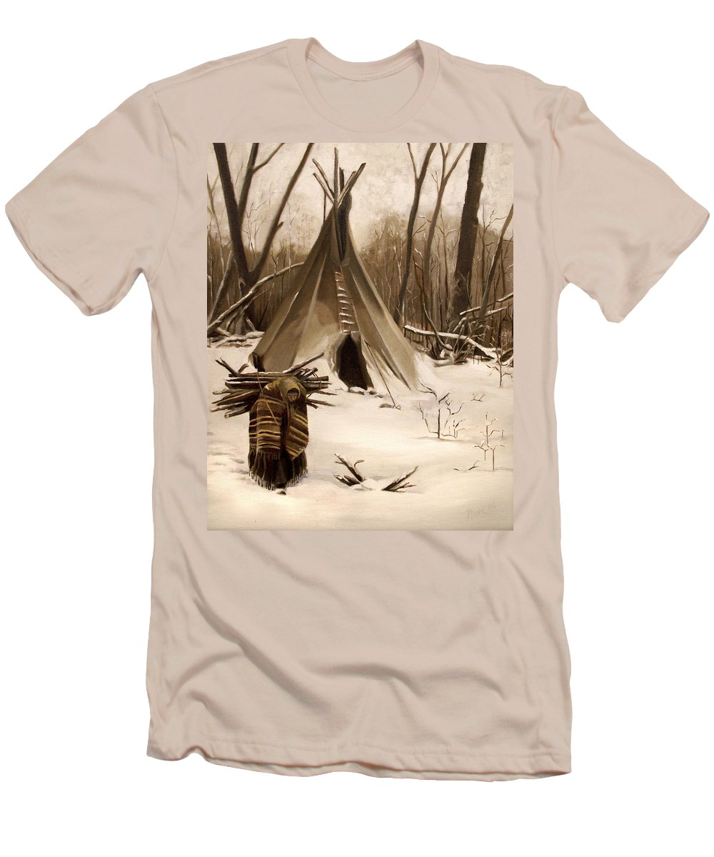 Native American Men's T-Shirt (Athletic Fit) featuring the painting Wood Gatherer by Nancy Griswold