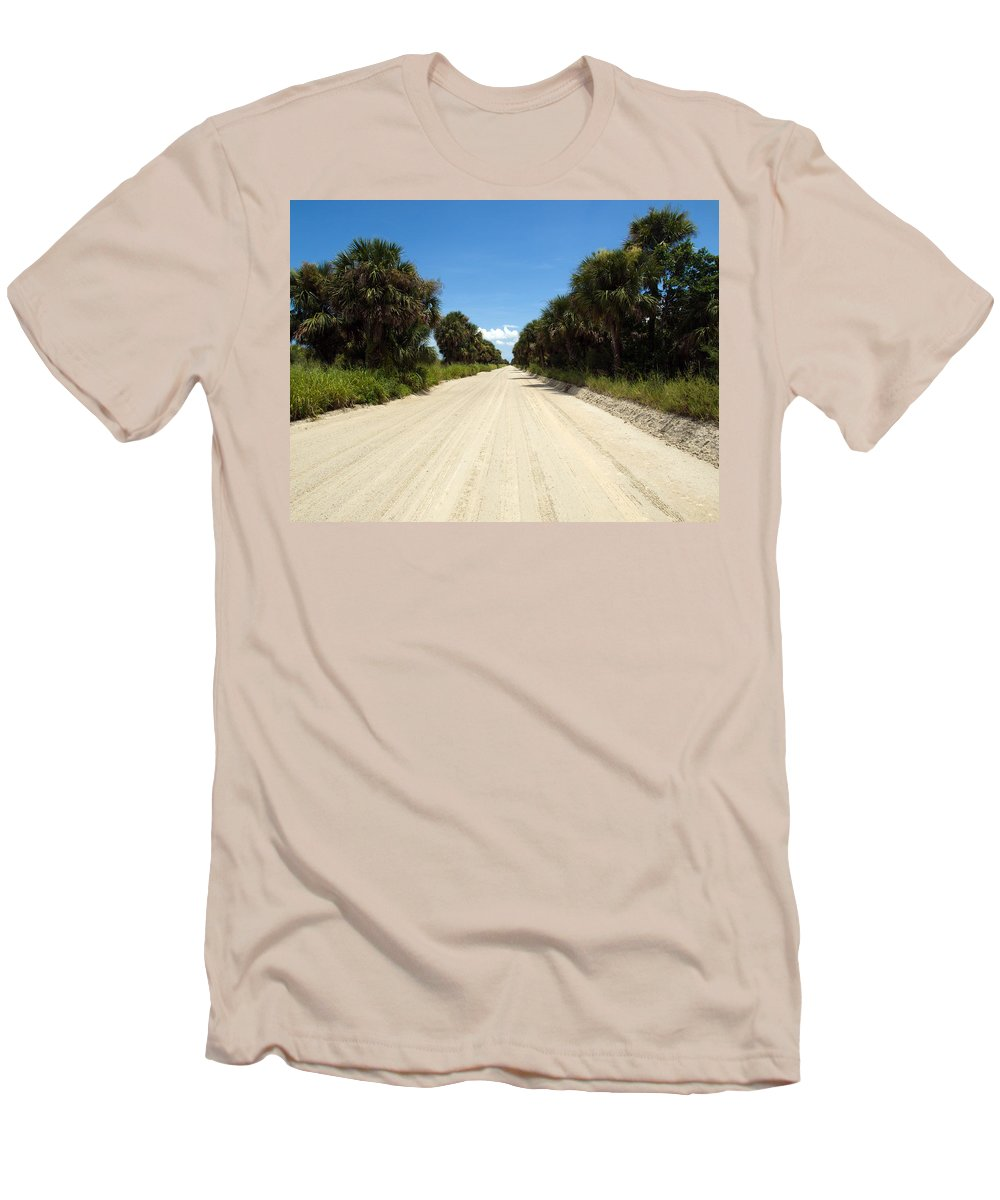 Florida; Road; Back; Backroad; Central; Dirt; Plow; Plowed; Clay; Mud; Muddy; Places; Unknown; Trave Men's T-Shirt (Athletic Fit) featuring the photograph Back Road In Central Florida. by Allan Hughes