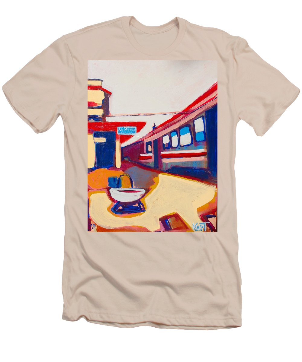 Train Station Men's T-Shirt (Athletic Fit) featuring the painting Locale by Kurt Hausmann
