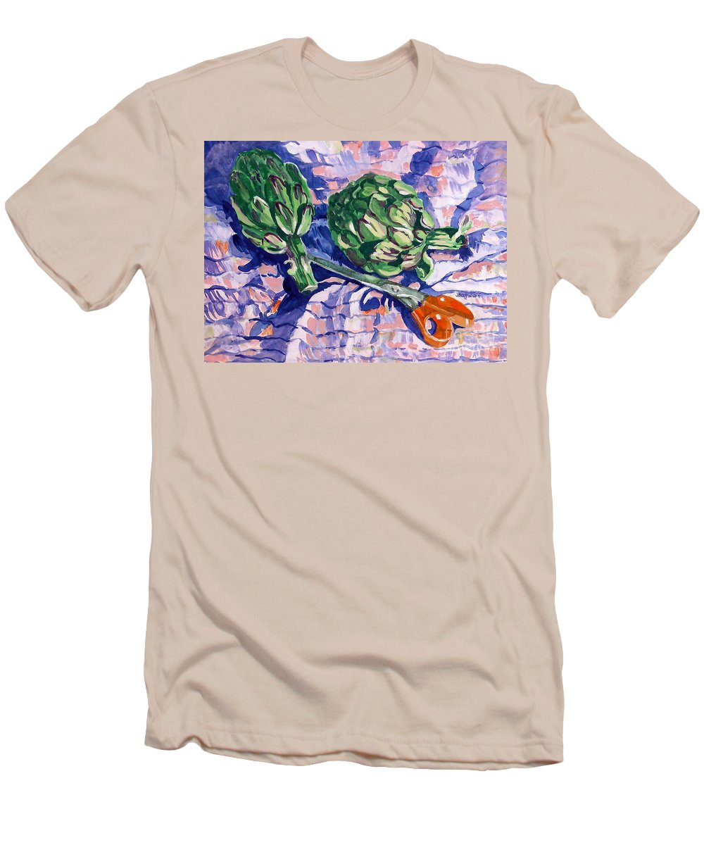 Greens Men's T-Shirt (Athletic Fit) featuring the painting Edible Flowers by Jan Bennicoff