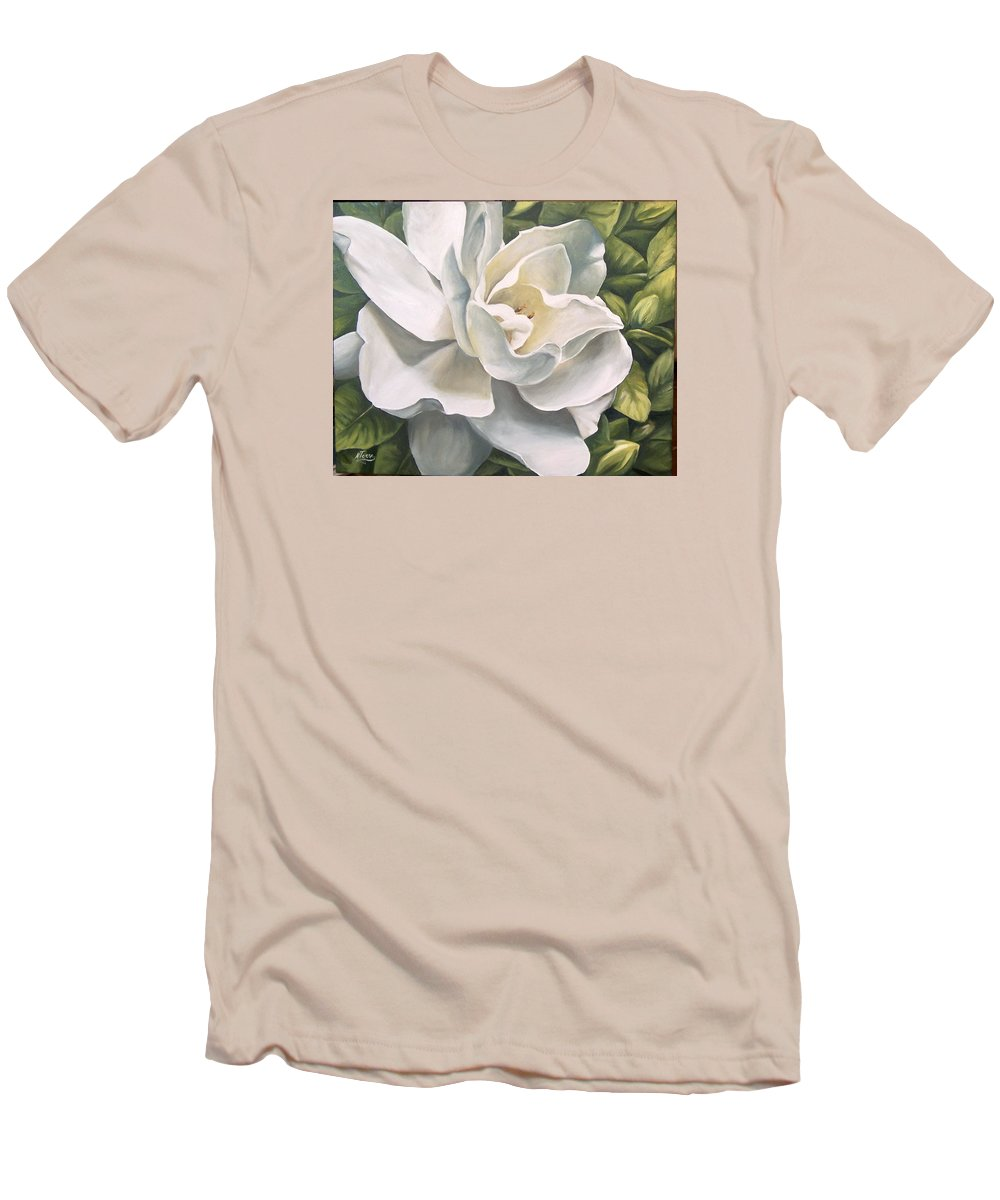 Flower Men's T-Shirt (Athletic Fit) featuring the painting Gardenia by Natalia Tejera