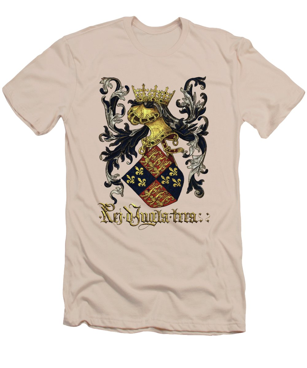 'roll Of Arms� Collection By Serge Averbukh Men's T-Shirt (Athletic Fit) featuring the photograph King Of England Coat Of Arms - Livro Do Armeiro-mor by Serge Averbukh