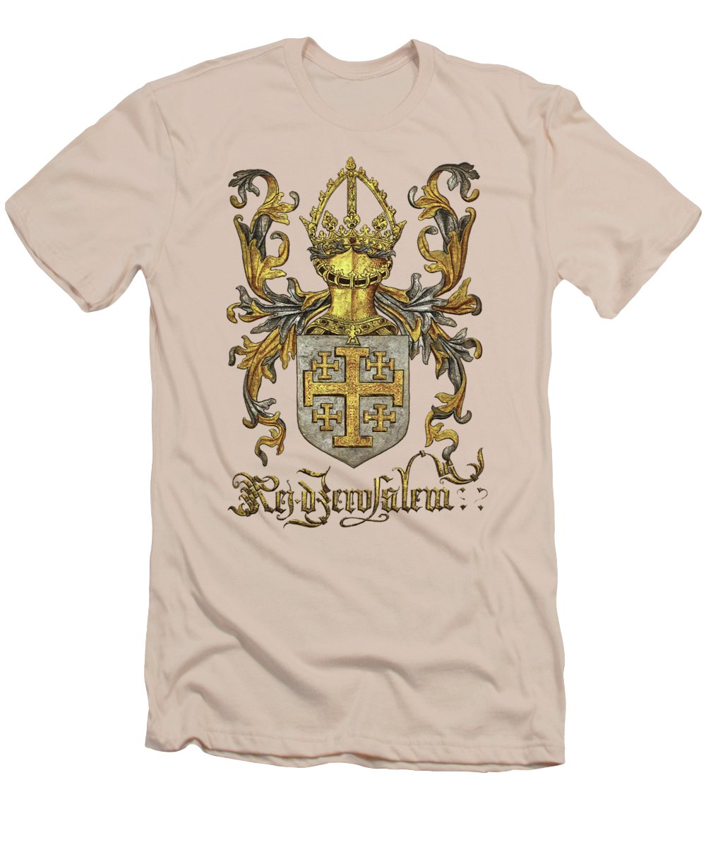 'roll Of Arms� Collection By Serge Averbukh Men's T-Shirt (Athletic Fit) featuring the photograph Kingdom Of Jerusalem Coat Of Arms - Livro Do Armeiro-mor by Serge Averbukh