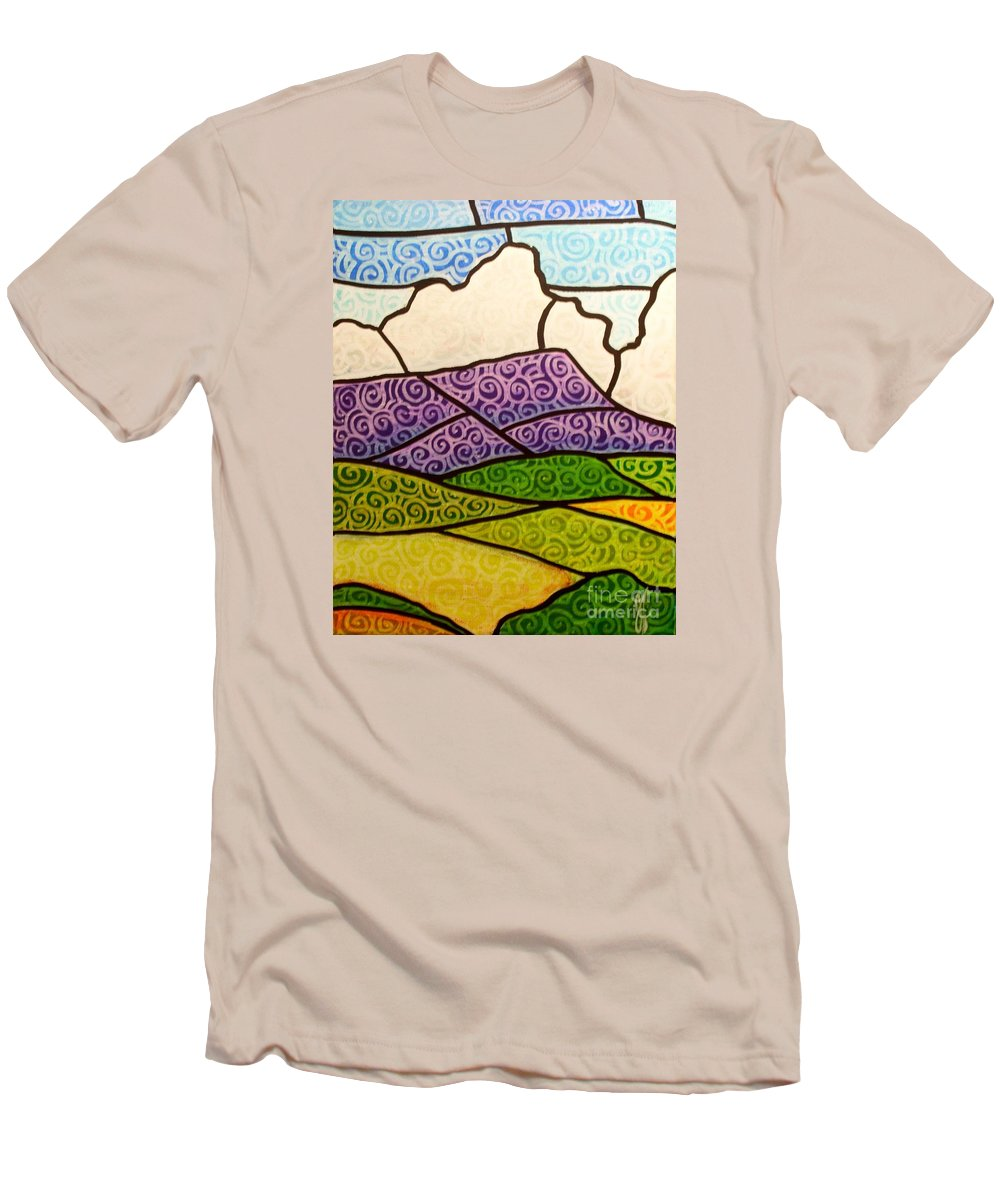 Mountians Men's T-Shirt (Athletic Fit) featuring the painting Massanutten Peak by Jim Harris