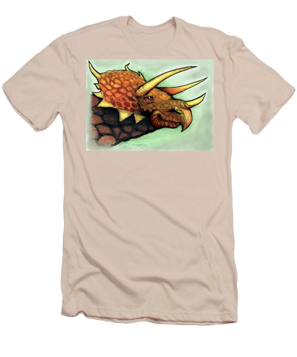 Triceratops Men's T-Shirt (Athletic Fit) featuring the painting Triceratops by Kevin Middleton