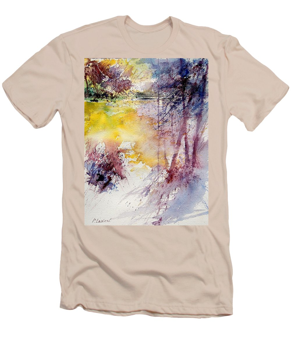 River Men's T-Shirt (Athletic Fit) featuring the painting Watercolor 040908 by Pol Ledent