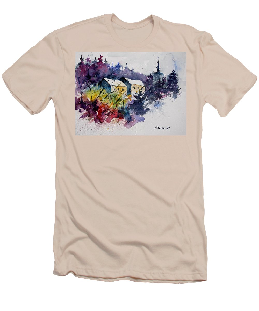 Winter Men's T-Shirt (Athletic Fit) featuring the painting Watercolor 231207 by Pol Ledent