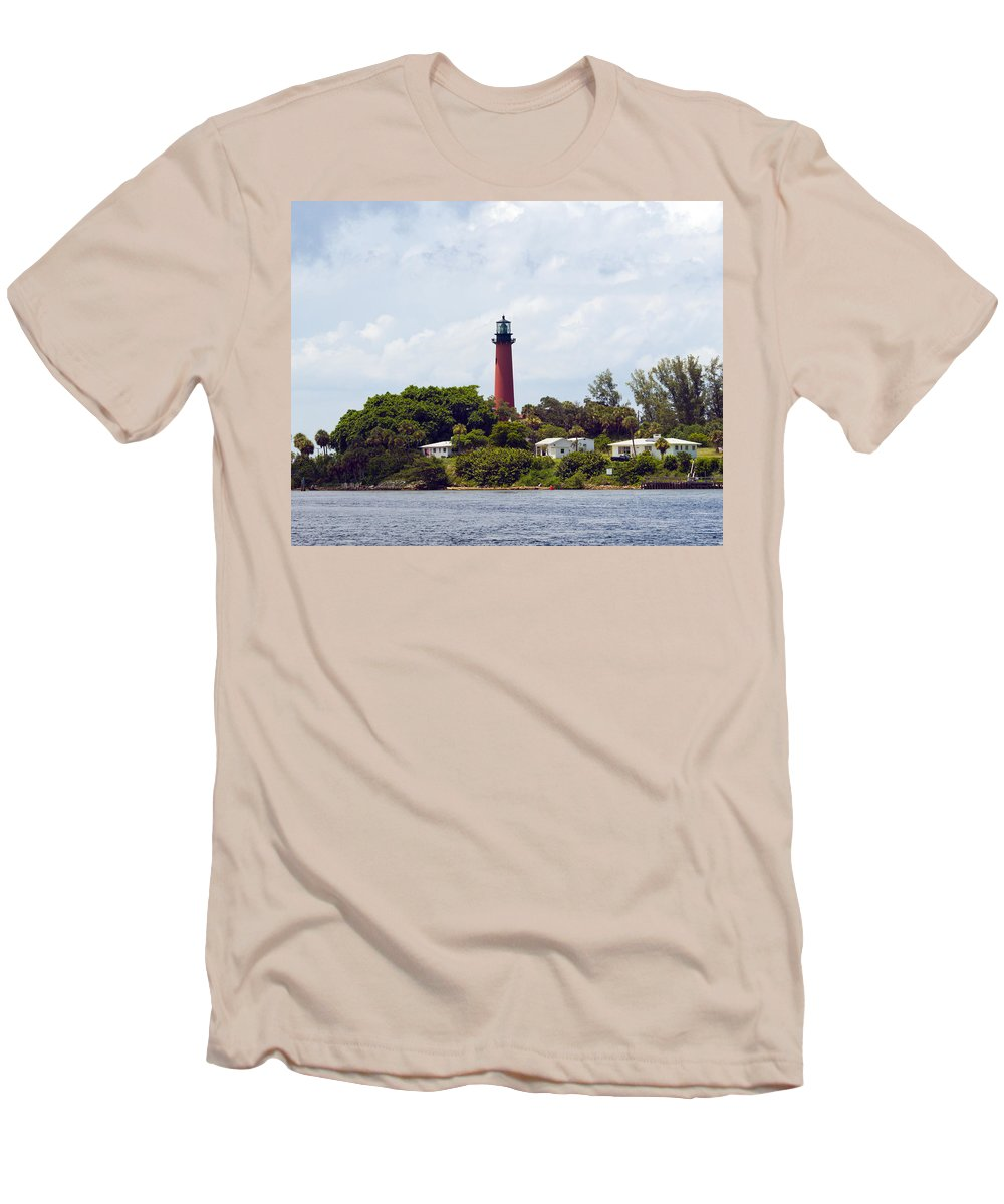 Florida; Juptier; Inlet; Loxahatchee; River; Atlantic; Coast; Shore; Beach; Light; Lighthouse; Beaco Men's T-Shirt (Athletic Fit) featuring the photograph Jupiter Inlet Florida by Allan Hughes