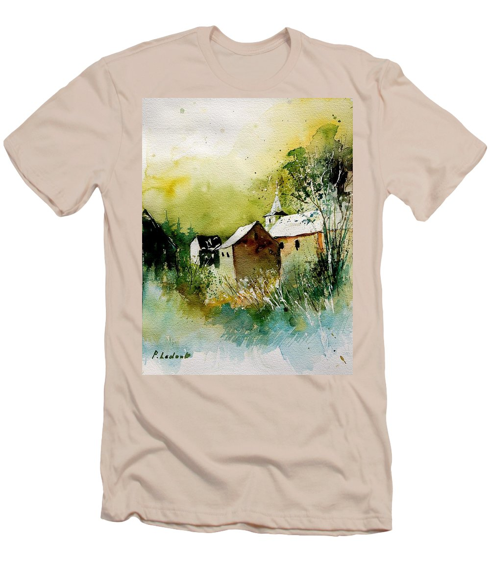 Village Men's T-Shirt (Athletic Fit) featuring the painting Abstract 260608 by Pol Ledent