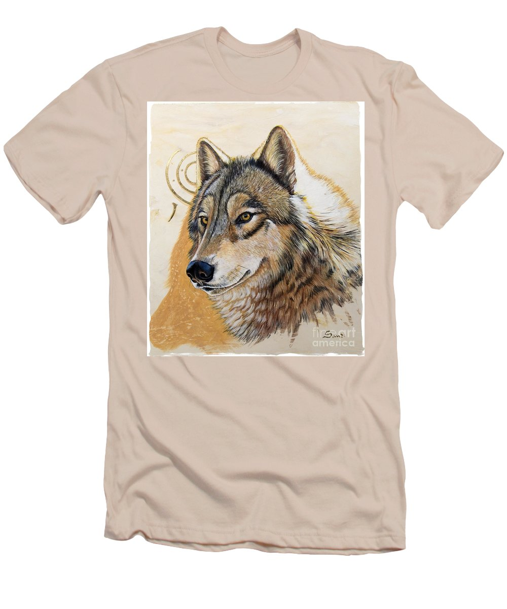 Acrylics Men's T-Shirt (Athletic Fit) featuring the painting Adobe Gold by Sandi Baker