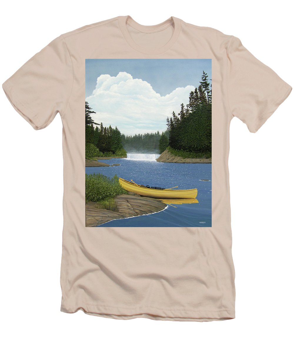 Landscapes Men's T-Shirt (Athletic Fit) featuring the painting After The Rapids by Kenneth M Kirsch