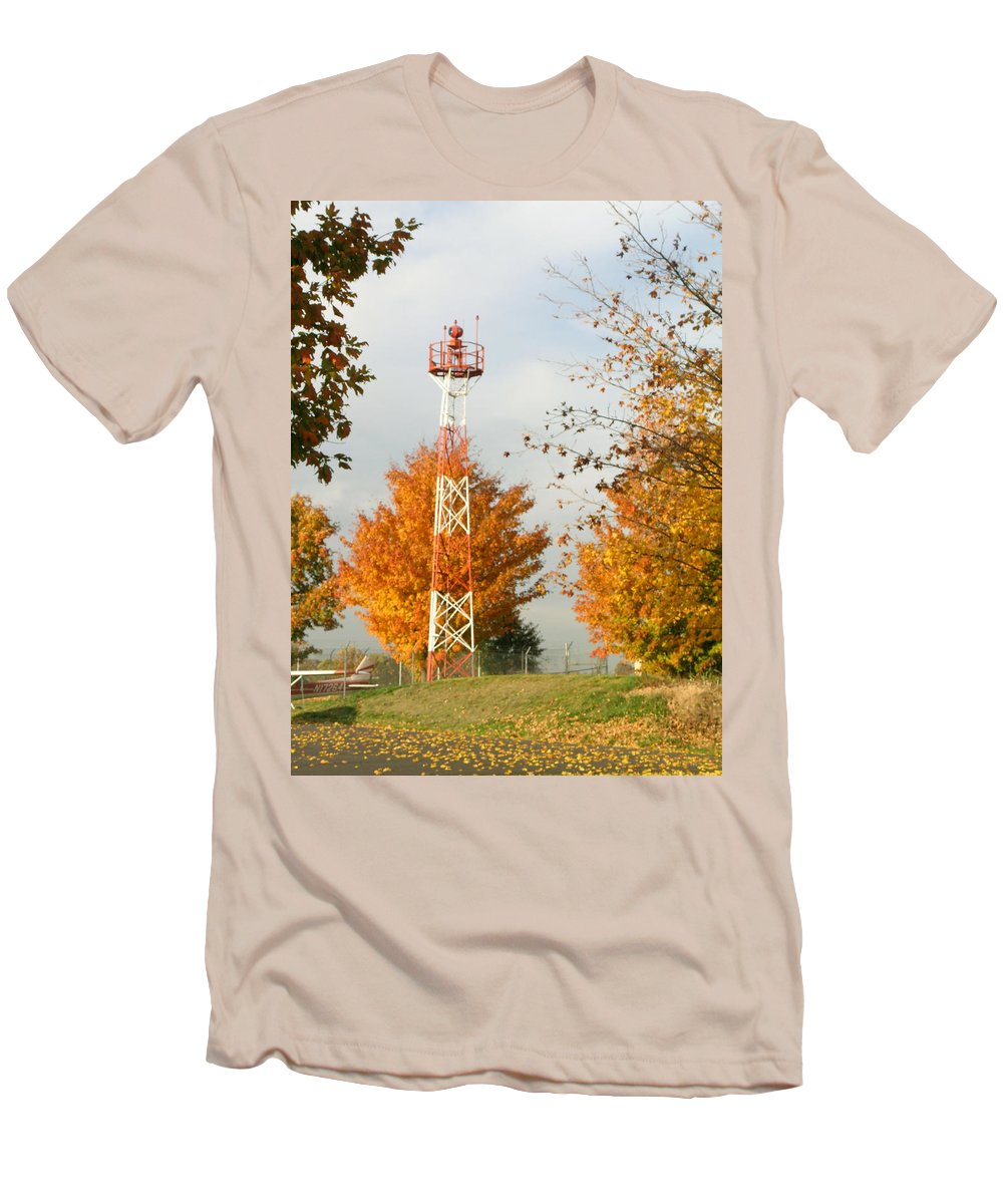 Airport Men's T-Shirt (Athletic Fit) featuring the photograph Airport Tower by Douglas Barnett