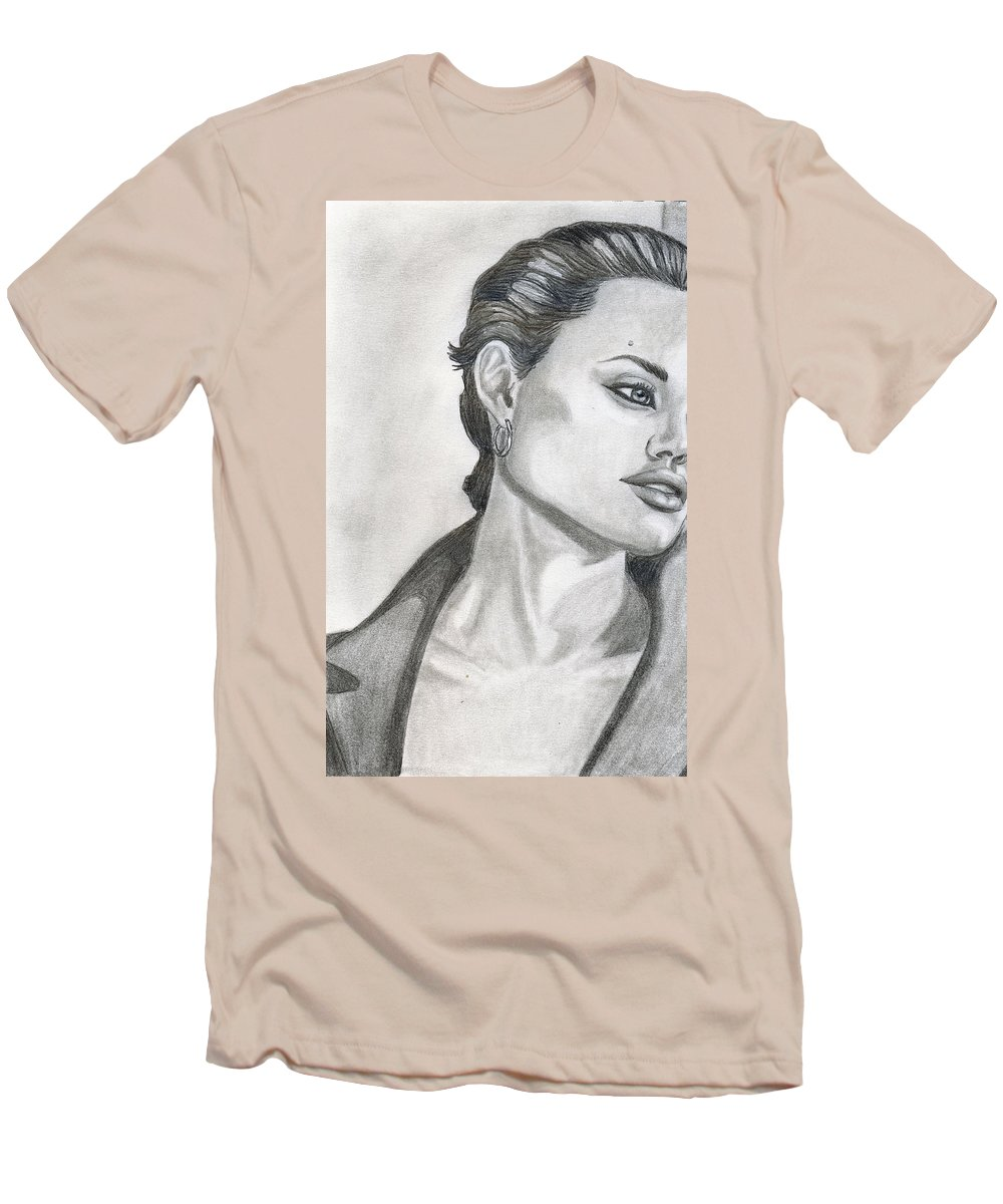 Pencil Men's T-Shirt (Athletic Fit) featuring the drawing Angelina Jolie by Alban Dizdari