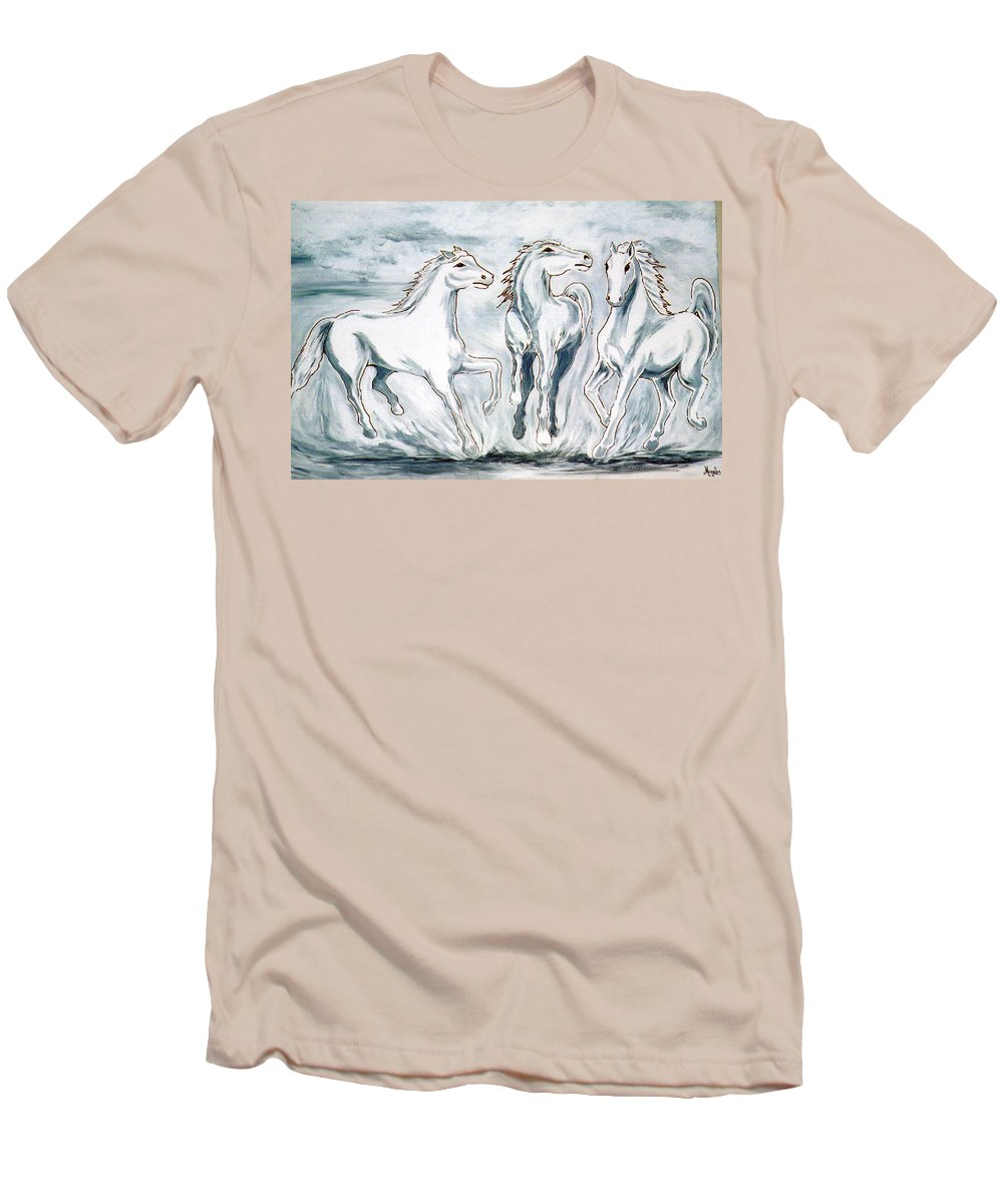Horses Men's T-Shirt (Athletic Fit) featuring the painting Arabian Roots by Marco Morales