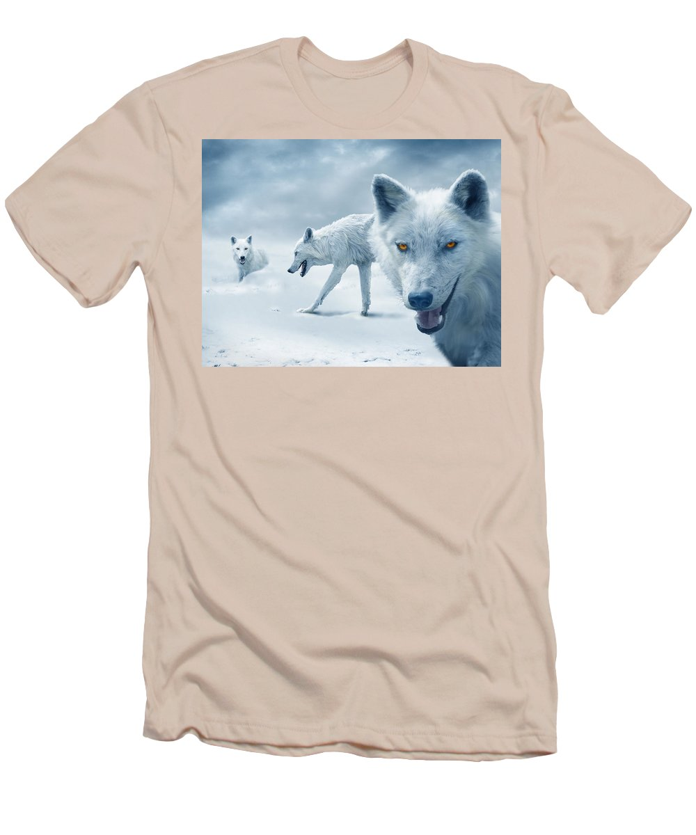 Arctic Men's T-Shirt (Athletic Fit) featuring the photograph Arctic Wolves by Mal Bray