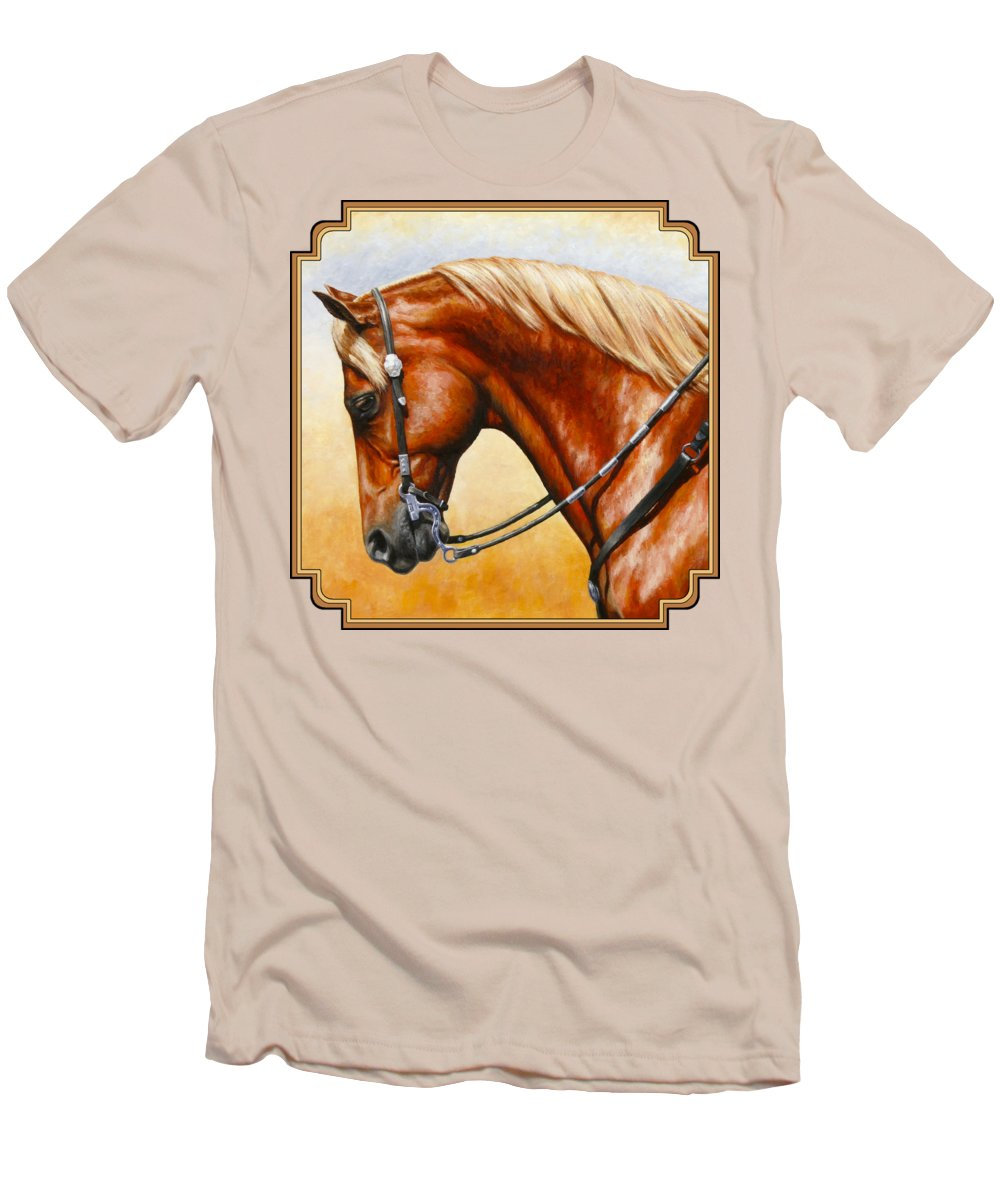 Horse Men's T-Shirt (Athletic Fit) featuring the painting Precision - Horse Painting by Crista Forest