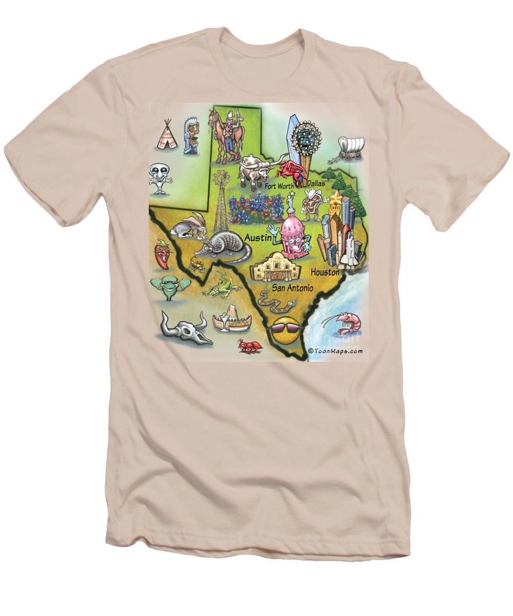 Texas Men's T-Shirt (Athletic Fit) featuring the digital art Texas Cartoon Map by Kevin Middleton
