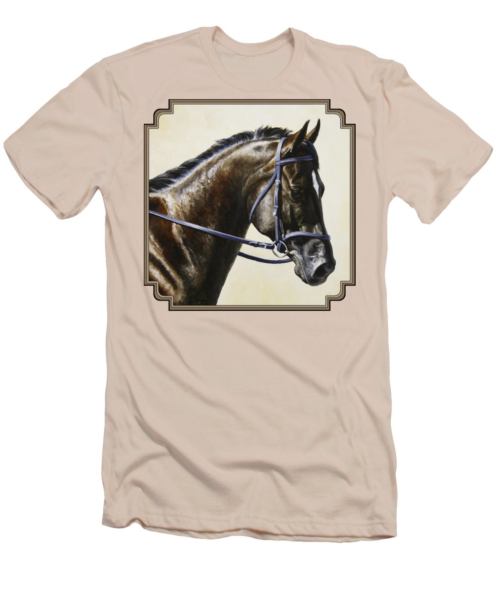 Horse Men's T-Shirt (Athletic Fit) featuring the painting Dressage Horse - Concentration by Crista Forest