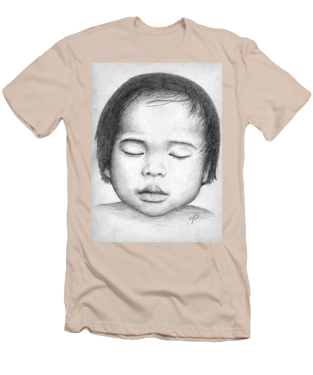 Baby Men's T-Shirt (Athletic Fit) featuring the drawing Asian Baby by Nicole Zeug