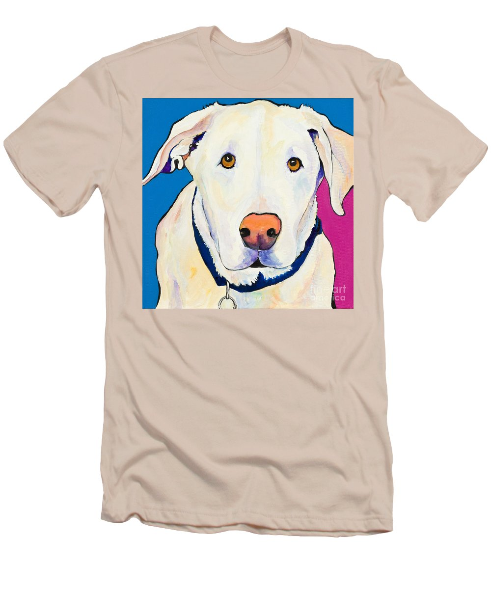 White Lab Yellow Lab Animal Paintings Golden Eyes Square Format Dogs Pets Rescued Men's T-Shirt (Athletic Fit) featuring the painting Aslinn by Pat Saunders-White