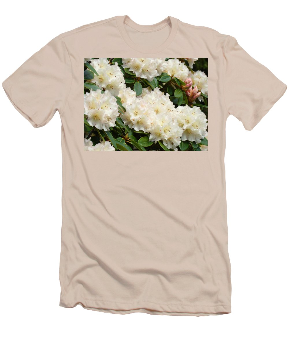 �azaleas Artwork� Men's T-Shirt (Athletic Fit) featuring the photograph Azaleas Rhodies Landscape White Pink Rhododendrum Flowers 8 Giclee Art Prints Baslee Troutman by Baslee Troutman